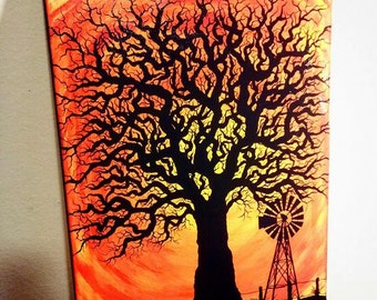 CUSTOMIZE Your Creepy/ Naked Tree in Acrylic Painting on Framed Canvas!