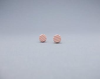 Modern porcelain round post earrings, minimalist rosa earrings, contemporary jewelry, mondern jewelry, handmade ceramic post earrings