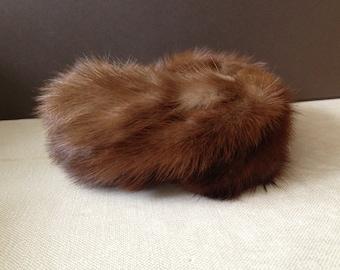 Vintage Paris ~ 1950s Couture Mink Fur Hat ~ Headpiece Crown