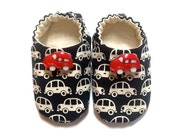 Cars Baby Boy Shoes, 0-6 mos. Baby Booties, Soft Sole Shoes, Boy Crib Shoes with Cars, Slip on Baby Shoes, Soft Baby Booties, Baby Boy Gift