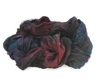 burgundy silk scarf - The End of the Affair -  dark burgundy, dark teal, black  silk scarf.