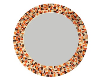 Round Wall Mirror // Orange Brown Tan Mosaic Wall Decor