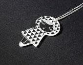 Acrylic doll pendant - triangle pattern - matriochka - kokeshi - laser etched and cut - minimalist - cute - contemporary