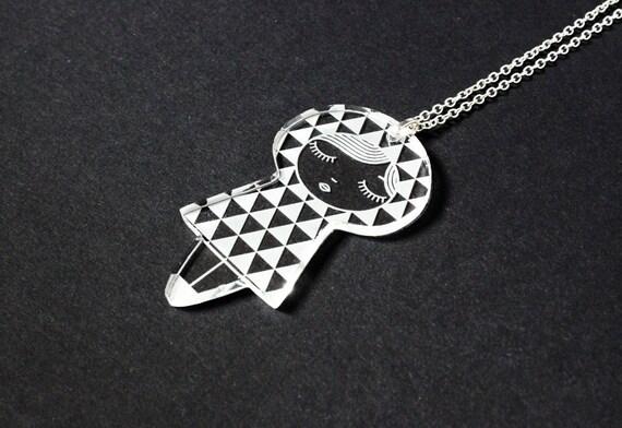 Doll necklace with triangle pattern - graphic matriochka pendant - kawaii kokeshi jewelry - lasercut clear acrylic - jewellery - cute