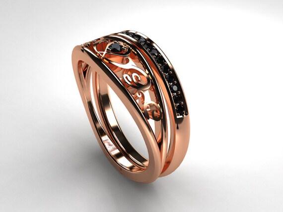 black diamond filigree engagement ring set rose gold ring. Black Bedroom Furniture Sets. Home Design Ideas