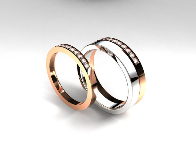 Diamond wedding ring set rose gold wedding by TorkkeliJewellery