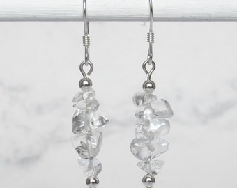 Quartz Crystal Nugget Chip Dangle Earrings, Sterling Silver Beads, Sterling Silver Earwires - Metaphysical Jewelry