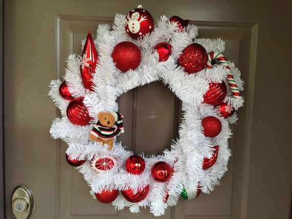 White Evergreen Wreath is made with Shatter Proof Ornaments, Red Front Door Wreath, Christmas Outdoor Wreath, Holiday Indoor Wreath