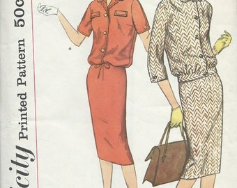 Vintage 1960's Two-Piece Suit Dress Sewing Pattern Simplicity 2679