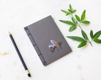 Bee. Embroidered A6 Notebook. Bumble Bee Brown Notepad. Garden Mini Journal. Beekeeper's Pocket Notebook. Nature Jotter. Cute Bee Mini Book