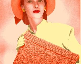 Almost FREE Vintage 1944 Straw Envelope Bag 1057 PDF Digital Crochet Pattern
