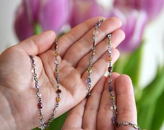 Garnet, Peridot, Citrine, Purple Amethyst, Clear Quartz bezel set necklace - Long Lollipop Station multi gemstone - Layered Necklace