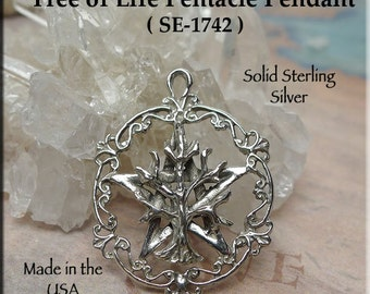Tree of Life Pentacle Pendant Necklace, .925 Silver Tree of Life on Pentagram, Wiccan-Pagan-Druid Jewelry - SE-1742