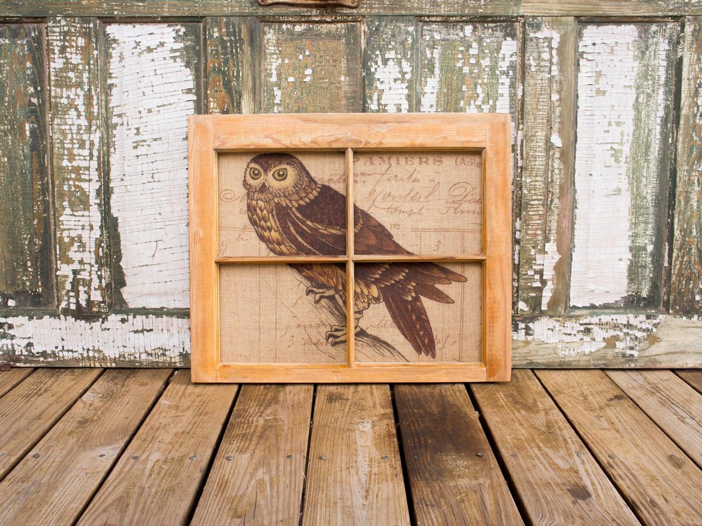 Rustic Window Frame Wall Decor : Items similar to reclaimed window frame rustic owl wall