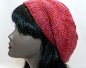 Cayenne Red Slouchy Tam, Hand Knit Hat, Striped Beret in Red Ombres, Hipster Hat, Rasta Tam, Red Tam, Woman's Hat, Handmade in the USA