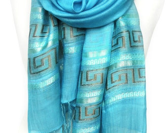 Blue Scarf. Azure Scarf. Viscose Scarf. Metallic Shawl. Shimmering Scarf. Meander Design. Greek Line Scarf. 20x70in (50x180cm) Ready2Ship