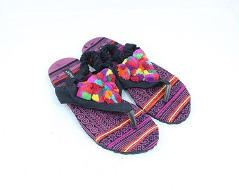 Comfortable Ethnic Look Size 7 Thai HMONG Vintage Sandal  Cotton Fabric Handmade (SD069_7)