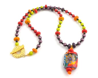Bright Multicolor Lampwork Glass Beads Pendant Necklace, Lampwork Necklace, Gifts for Her, Fashion Jewelry,