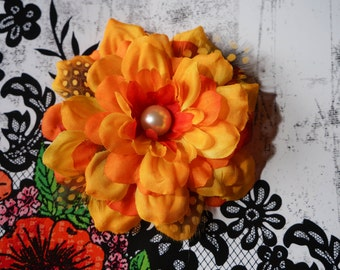 Fall Style Flower Clip with Feathers