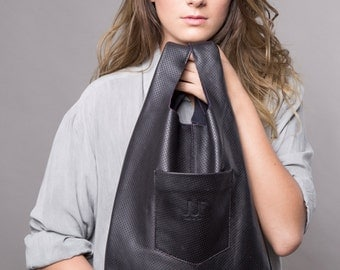 summer sale Black Leather Tote Bag minimal leather bag