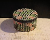 Art Deco, Small Antique Tin Box, 1920s, Black White Stripe, Pink Roses, Floral Flower, Tindeco, Vintage Vanity, Romantic, Boho, Cottage Chic