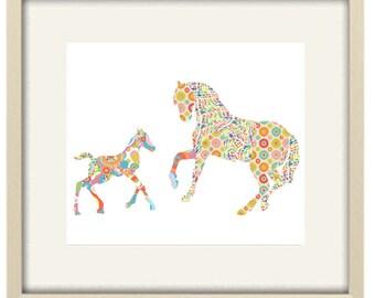 Girl nursery decor,nursery art,baby girl nursery decor,horse art, kids wall art baby nursery modern nursery art baby shower horse art