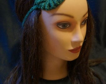 Women's Crochet Dark Green Autumn Fall Leaf Headband