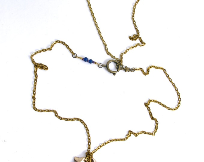 Lost Wax Cast Solid Brass Duckfoot Oyster Shell on a Brass Chain with Double Chain Back Dangles with Cobalt Blue Sea Glass