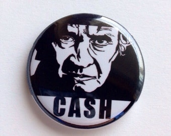 Johnny Cash 1.25 inch retractable badge reel, keychain, pinback button, magnet, zipper pull cupcake topper ornament, music, classic country