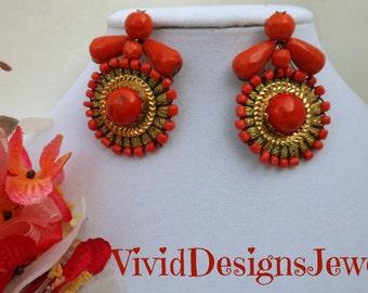 Coral Orange Statement Earrings Coral Orange and Gold Tribal Statement Earrings- Bride- Wedding Earrings