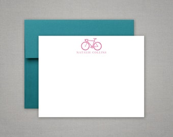 Personalized Stationery - Bicycle - Flat Thank You Notes - Bike Motif - Personalized Stationary