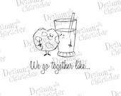 We Go Together Like Cookies and Milk Digital Stamp Art/ KopyKake Image