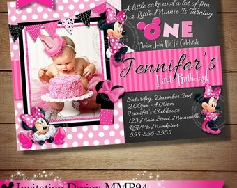 HUGE SELECTION Minnie PRINTABLE Birthday Invitation, Pink Polka Dot Minnie Mouse Invitation, Minnie Mouse Photo Invitation, Pink Polka Dot