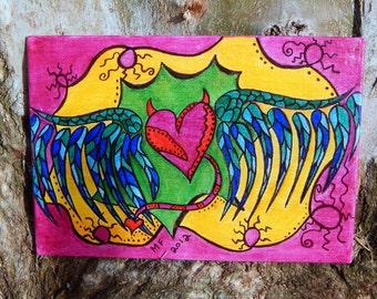 Fallen Angel - Original Illustration on canvas - 5x7