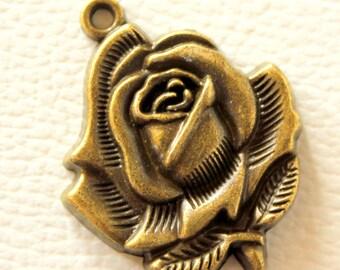 Rose Pendant Bronze Tone