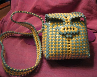 WOVEN PURSE and BELT-Yellow and Aqua