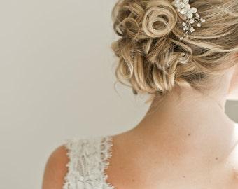 Bridal Hair Comb, Bridal Hairpiece, Pearl Hair Comb, Floral Hair Comb, Wedding Hairpiece