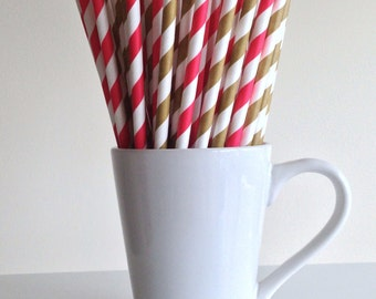 Red and Gold Striped Paper Straws Party Supplies Party Decor Bar Cart Cake Pop Sticks Mason Jar Straws  Party Graduation