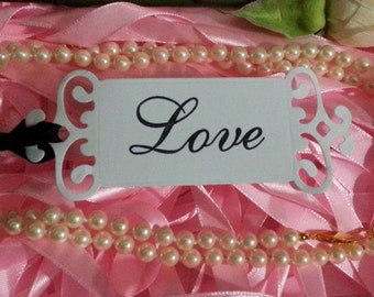 100 WEDDING WISH TREE Tags Adorned with Black  Satin Ribbon