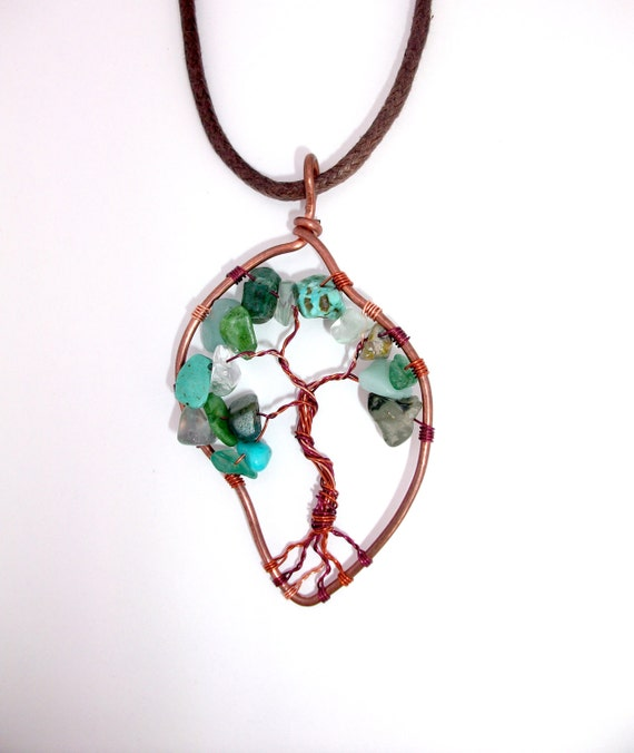 Green tree of life necklace, leaf shaped pendant with copper and semi-precious stones. Hippie gift.