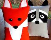Fox & Raccoon Pillow Toy Pattern PDF Sewing Tutorial Baby Felt Animal, Tooth Fairy Pocket or Accent Pillow, Toddler to Tween - MyFunnyBuddy