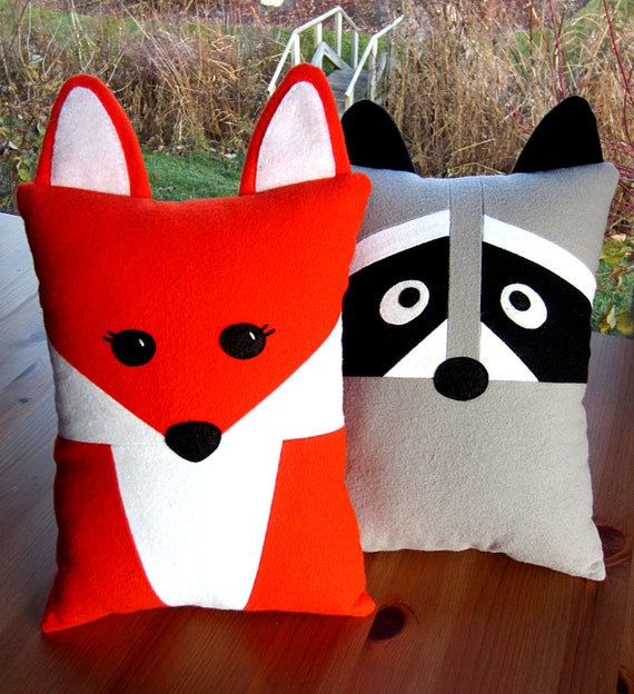 Fox Amp Raccoon Pillow Toy Pattern Pdf Sewing Tutorial Baby Felt