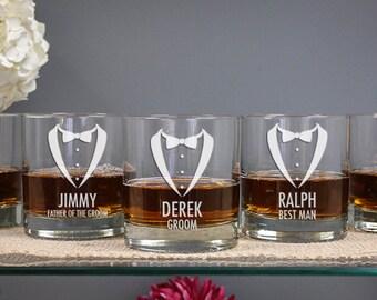 Personalized Groomsmen Tuxedo Whiskey Glass (ONE) Custom Engraved DOF Glass 11oz, Personalized Wedding Gift, Bridal Party Favor