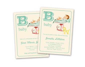 Vintage baby shower invitation printable / baby announcement / editable PDF / neutral colors / alphabet flashcard style / instant download