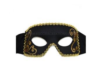 Rowan Hand-Painted Black-Gold Men's Masquerade Mask - A-2305BG-F