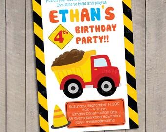 Construction Invitation / Dump Truck Invitation / Birthday Invitation Construction / Construction Invite / Construction Party Invitation