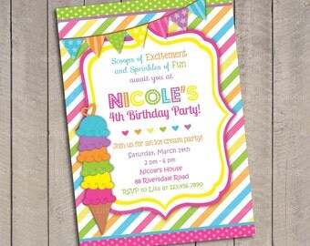 Ice Cream Birthday Invitation / Ice Cream Invitation / Ice Cream Party / Rainbow Invitation Digital Printable DIY