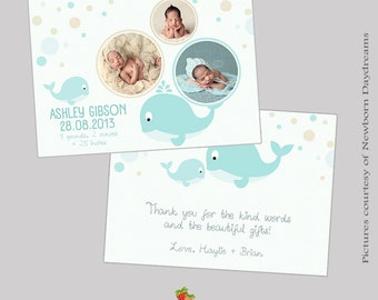 INSTANT DOWNLOAD 5x7 Birth Announcement/ Thank You Card Template - CA375