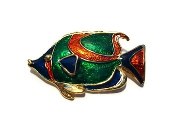 Vintage Sunfish Brooch - Colorful Enamel Sunfish Brooch - Gold Tone Fish Brooch