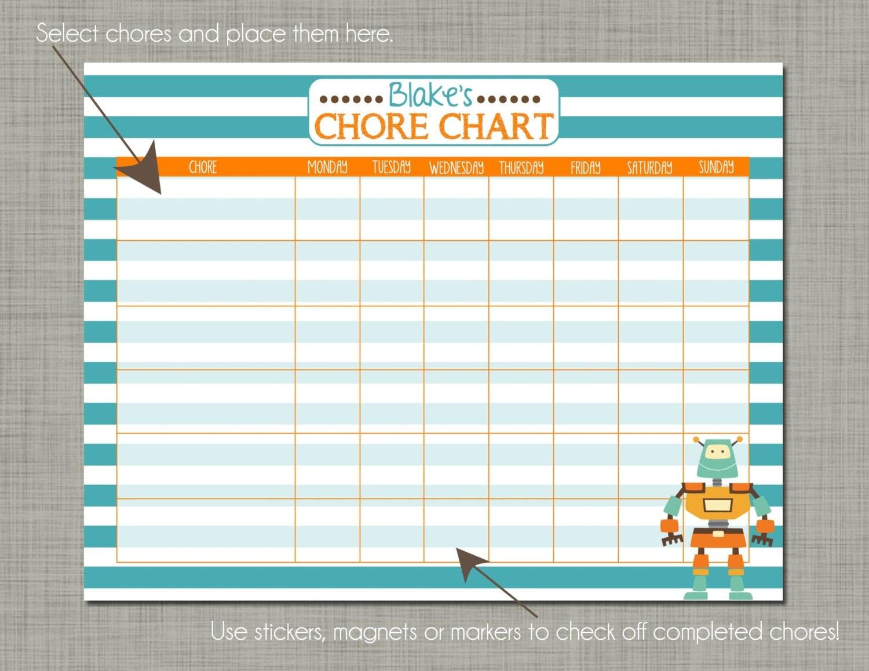 personalized kids chore reward chart by polkadotposieprint